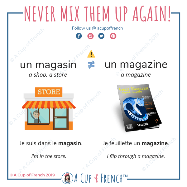 Don't mix up the French words MAGASIN and MAGAZINE