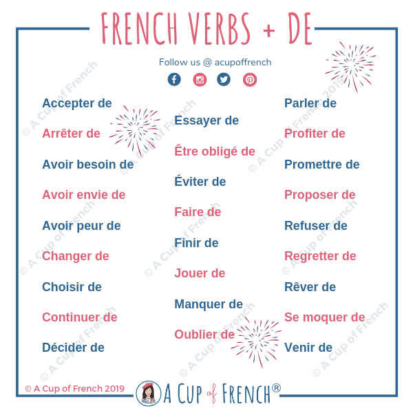 French verbs + DE