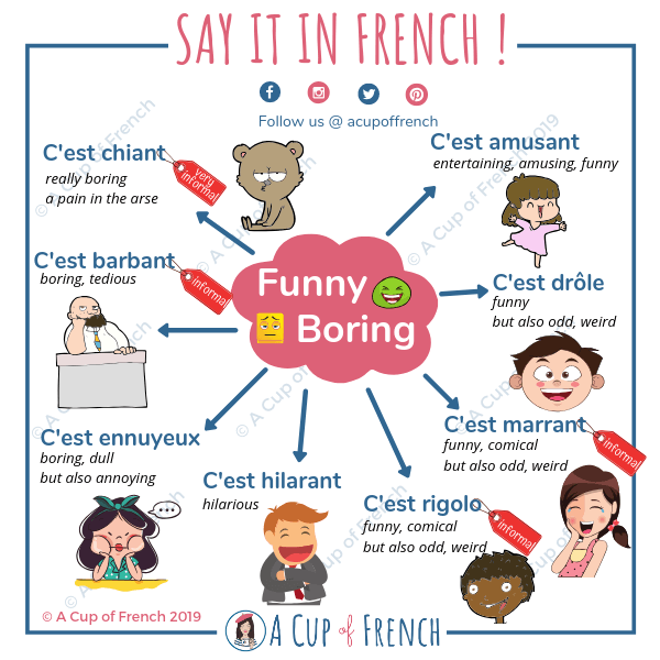"8 ways to say ""funny"" and ""boring"" in French"