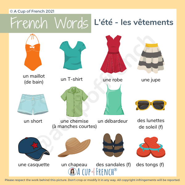 Summer clothes in French