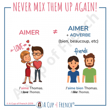 Difference between AIMER and AIMER BIEN in French