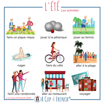 Summer activities - French words