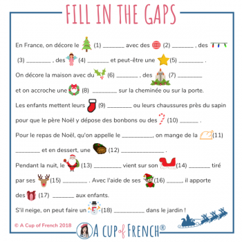 Fill in the Gaps - Christmas text in French