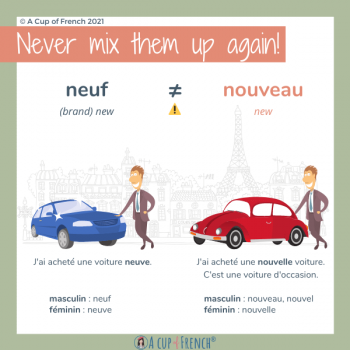 Difference between French adjectives NEUF and NOUVEAU