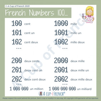 French numbers 100 +