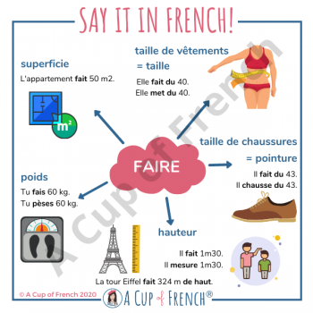Talk about size, weight and area in French